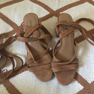 Lucky Brand Shoes - Lucky Brand Suede Lace Up Chunky Heels